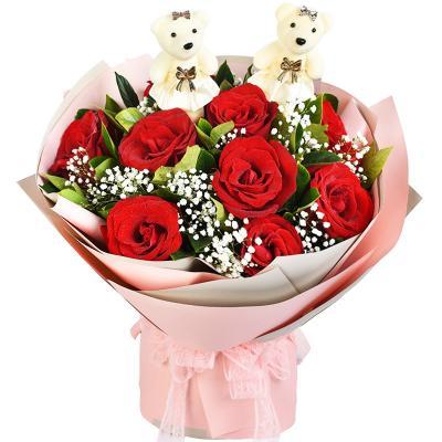 爱你一生不变-11支红玫瑰2小熊