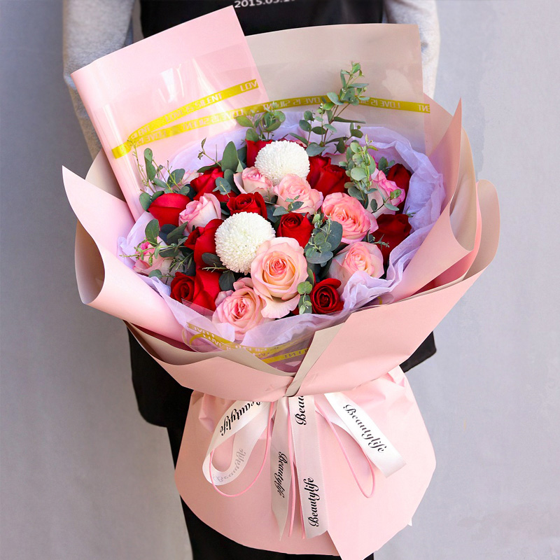 拥抱幸福-33支精品混色玫瑰