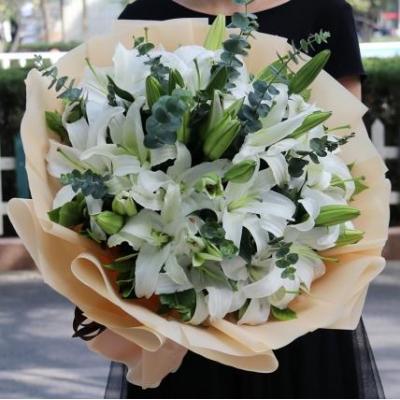 纯洁芬芳-33朵白百合花束